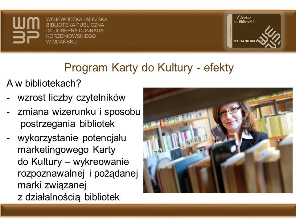 Program Karty do Kultury - efekty A w bibliotekach? -wzrost liczby czytelników -zmiana wizerunku i sposobu postrzegania bibliotek -wykorzystanie poten