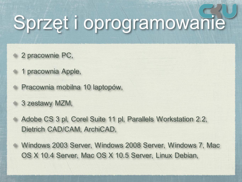 Sprzęt i oprogramowanie Sprzęt i oprogramowanie 2 pracownie PC, 1 pracownia Apple, Pracownia mobilna 10 laptopów, 3 zestawy MZM, Adobe CS 3 pl, Corel Suite 11 pl, Parallels Workstation 2.2, Dietrich CAD/CAM, ArchiCAD, Windows 2003 Server, Windows 2008 Server, Windows 7, Mac OS X 10.4 Server, Mac OS X 10.5 Server, Linux Debian, 2 pracownie PC, 1 pracownia Apple, Pracownia mobilna 10 laptopów, 3 zestawy MZM, Adobe CS 3 pl, Corel Suite 11 pl, Parallels Workstation 2.2, Dietrich CAD/CAM, ArchiCAD, Windows 2003 Server, Windows 2008 Server, Windows 7, Mac OS X 10.4 Server, Mac OS X 10.5 Server, Linux Debian,