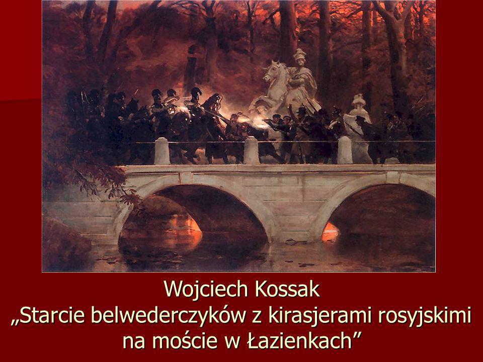 Wojciech Kossak Starcie belwederczyków z kirasjerami rosyjskimi na moście w Łazienkach