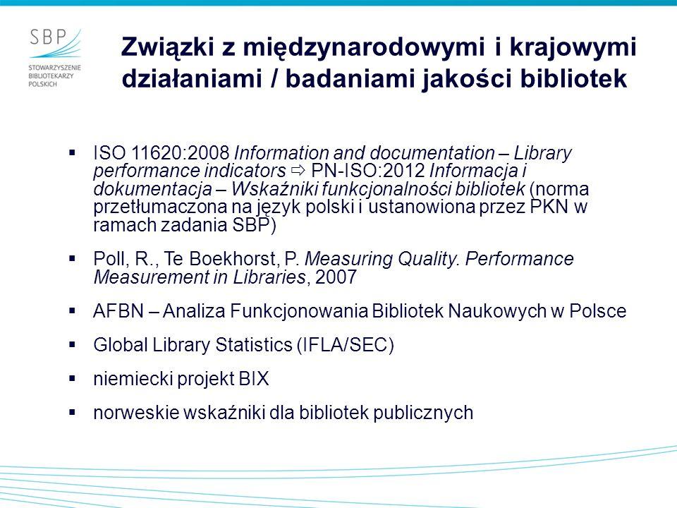 ISO 11620:2008 Information and documentation – Library performance indicators PN-ISO:2012 Informacja i dokumentacja – Wskaźniki funkcjonalności biblio