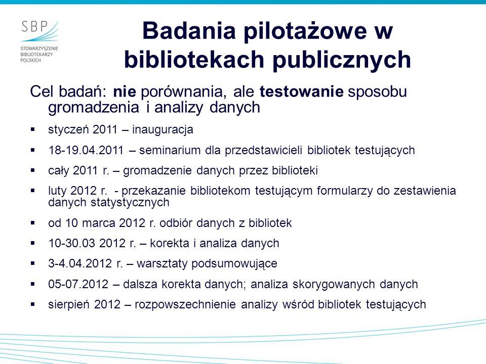 Badania pilotażowe w bibliotekach publicznych Cel badań: nie porównania, ale testowanie sposobu gromadzenia i analizy danych styczeń 2011 – inauguracj