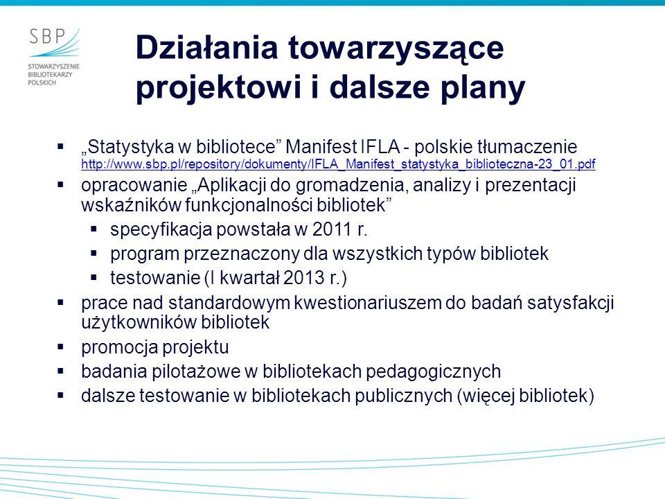 Działania towarzyszące projektowi i dalsze plany Statystyka w bibliotece Manifest IFLA - polskie tłumaczenie http://www.sbp.pl/repository/dokumenty/IF