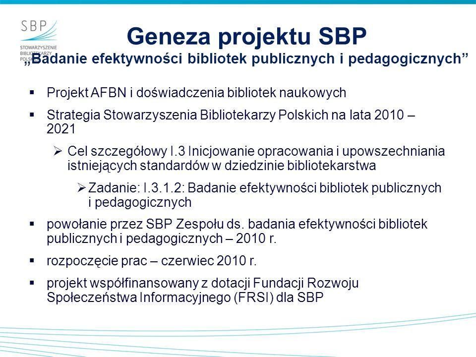 Geneza projektu SBP Badanie efektywności bibliotek publicznych i pedagogicznych Projekt AFBN i doświadczenia bibliotek naukowych Strategia Stowarzysze