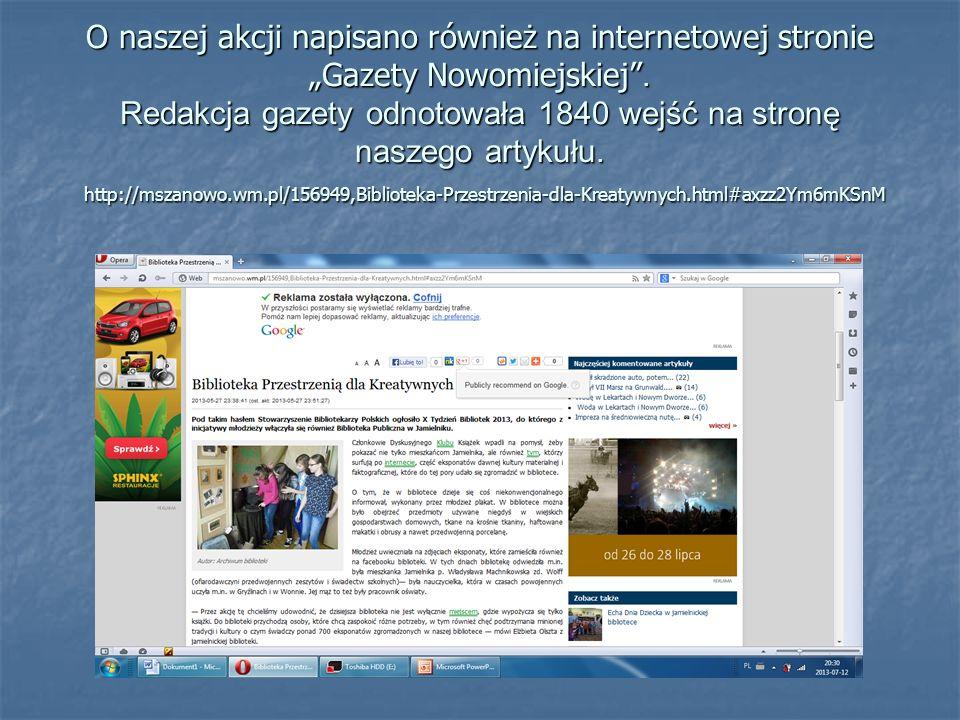 O naszej akcji napisano również na internetowej stronie Gazety Nowomiejskiej.