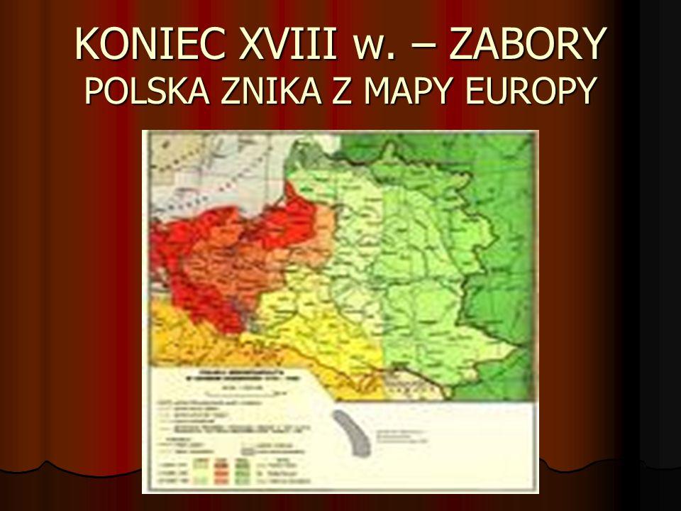 KONIEC XVIII w. – ZABORY POLSKA ZNIKA Z MAPY EUROPY