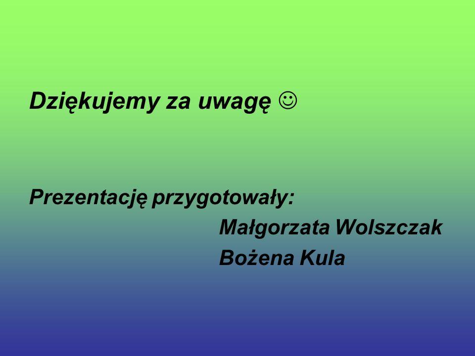 Dziękujemy za uwagę Prezentację przygotowały: Małgorzata Wolszczak Bożena Kula