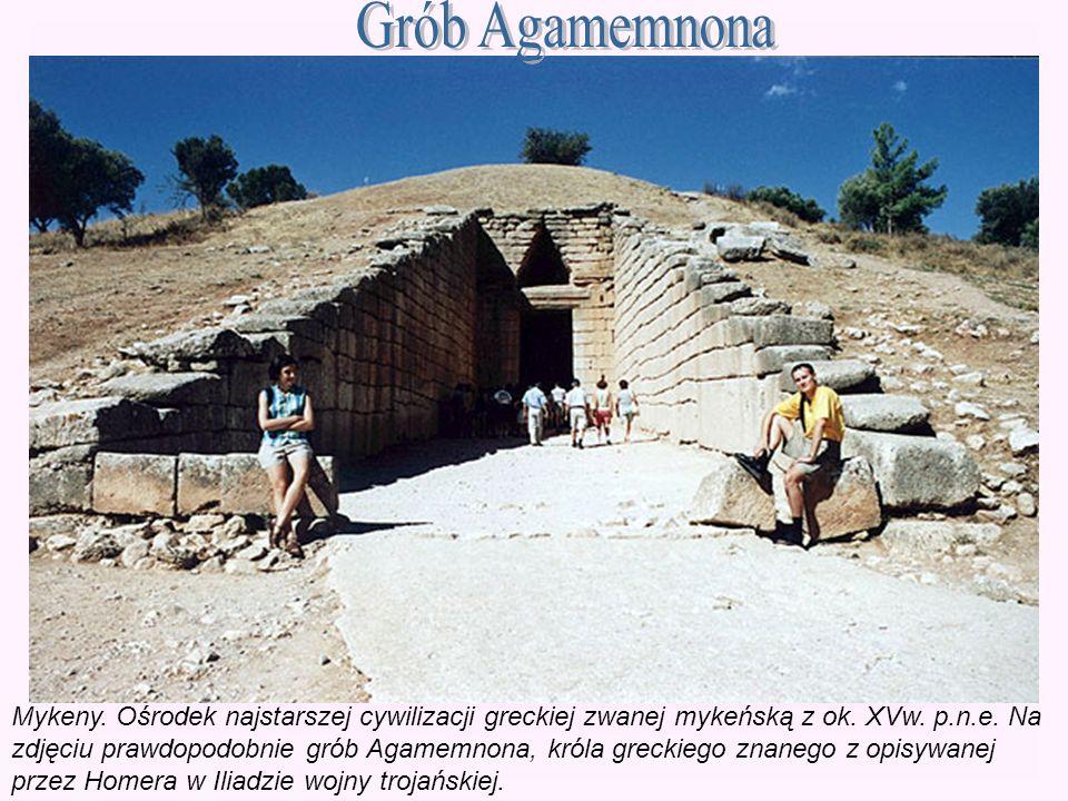 Mykeny. Ośrodek najstarszej cywilizacji greckiej zwanej mykeńską z ok. XVw. p.n.e. Na zdjęciu prawdopodobnie grób Agamemnona, króla greckiego znanego