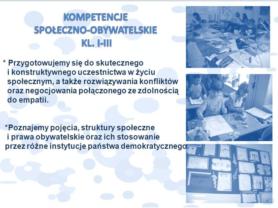 * Przygotowujemy się do skutecznego i konstruktywnego uczestnictwa w życiu społecznym, a także rozwiązywania konfliktów oraz negocjowania połączonego