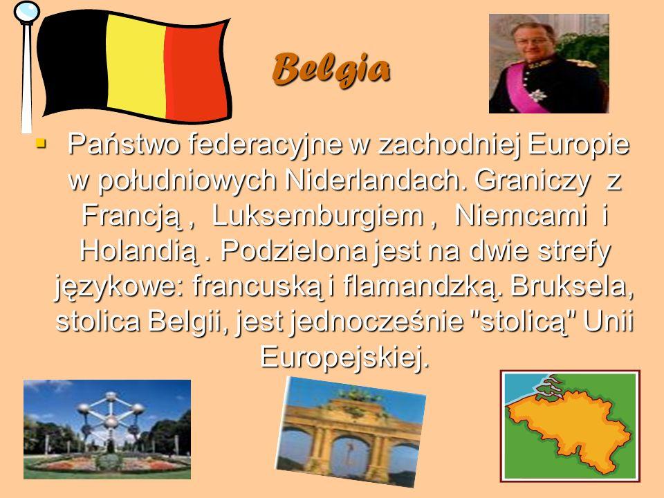 Belgia Państwo federacyjne w zachodniej Europie w południowych Niderlandach. Graniczy z Francją, Luksemburgiem, Niemcami i Holandią. Podzielona jest n