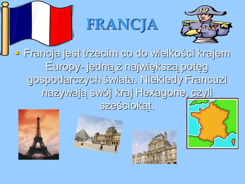 FRANCJA Francja jest trzecim co do wielkości krajem Europy- jedną z największą potęg gospodarczych świata. Niekiedy Francuzi nazywają swój kraj Hexago