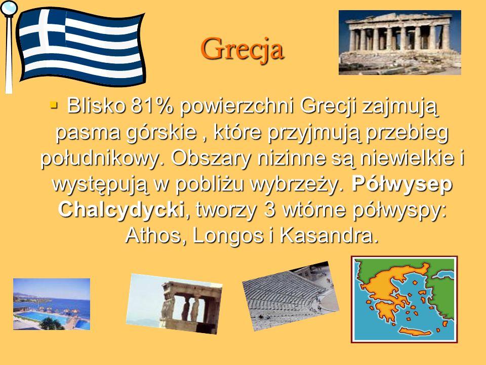 Grecja Blisko 81% powierzchni Grecji zajmują pasma górskie, które przyjmują przebieg południkowy. Obszary nizinne są niewielkie i występują w pobliżu