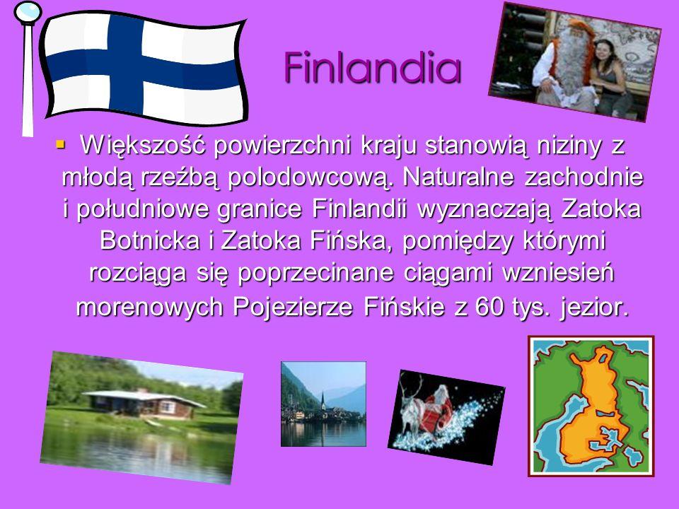 Finlandia Większość powierzchni kraju stanowią niziny z młodą rzeźbą polodowcową. Naturalne zachodnie i południowe granice Finlandii wyznaczają Zatoka