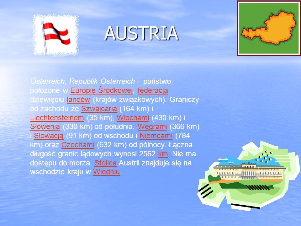 AUSTRIA AUSTRIA Österreich, Republik Österreich – państwo położone w Europie Środkowej, federacja dziewięciu landów (krajów związkowych). Graniczy od