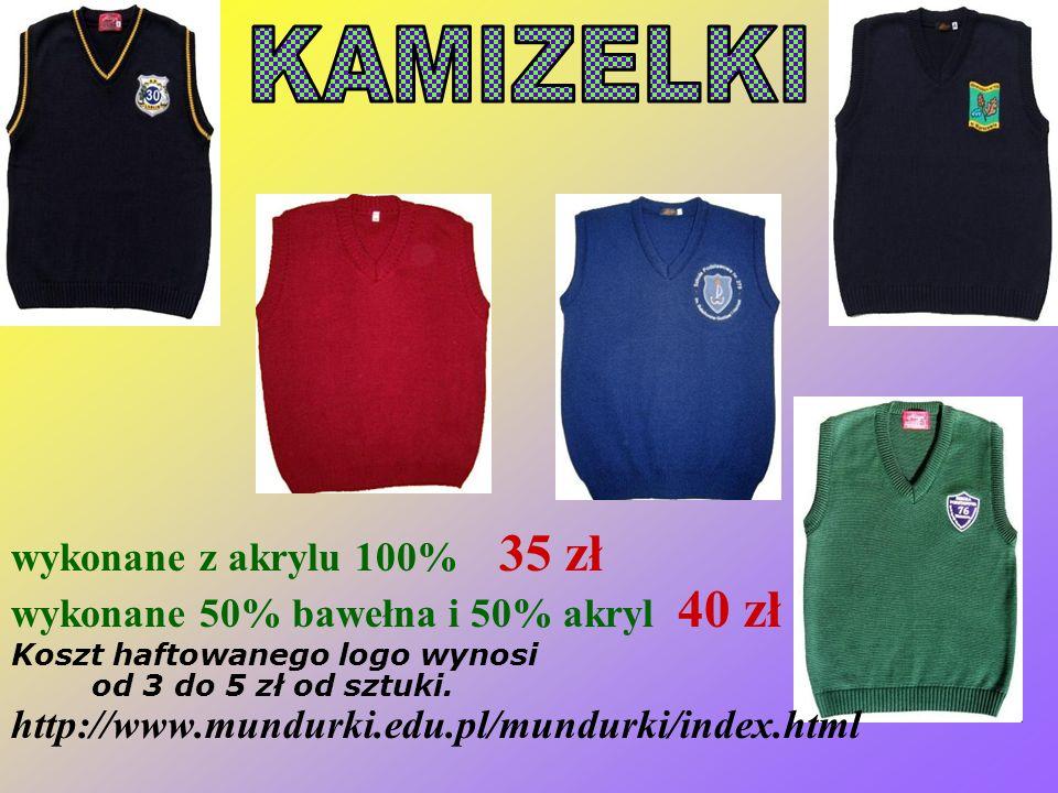 Rozmiar cena 98-122 26,50 128-140 32,00 146-158 35,00 164-182 44,00 Bluzy rozpinane, długi zamek Możliwe jest umieszczenie własnego logo szkoły na wyb