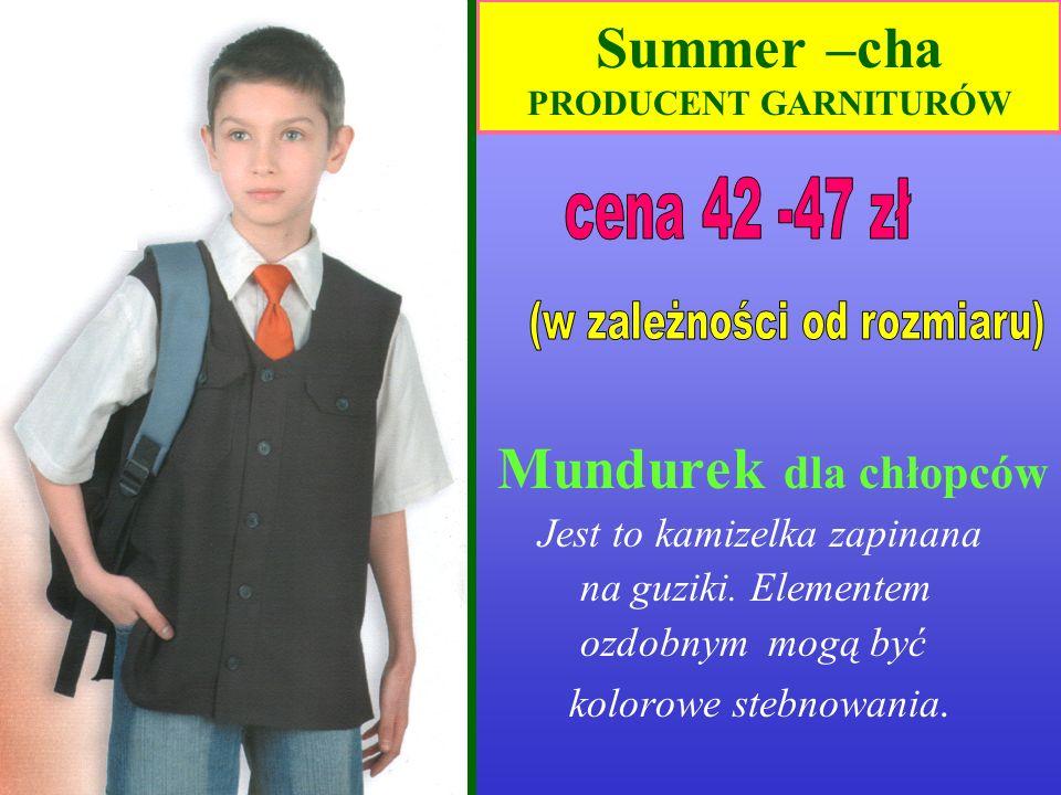 Summer –cha PRODUCENT GARNITURÓW Kamizelka dziewczęca Elementem ozdobnym mogą być kolorowe stebnowania.