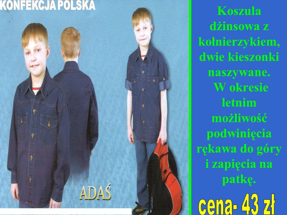 Koszula dżinsowa z kołnierzykiem, dwie kieszonki naszywane.