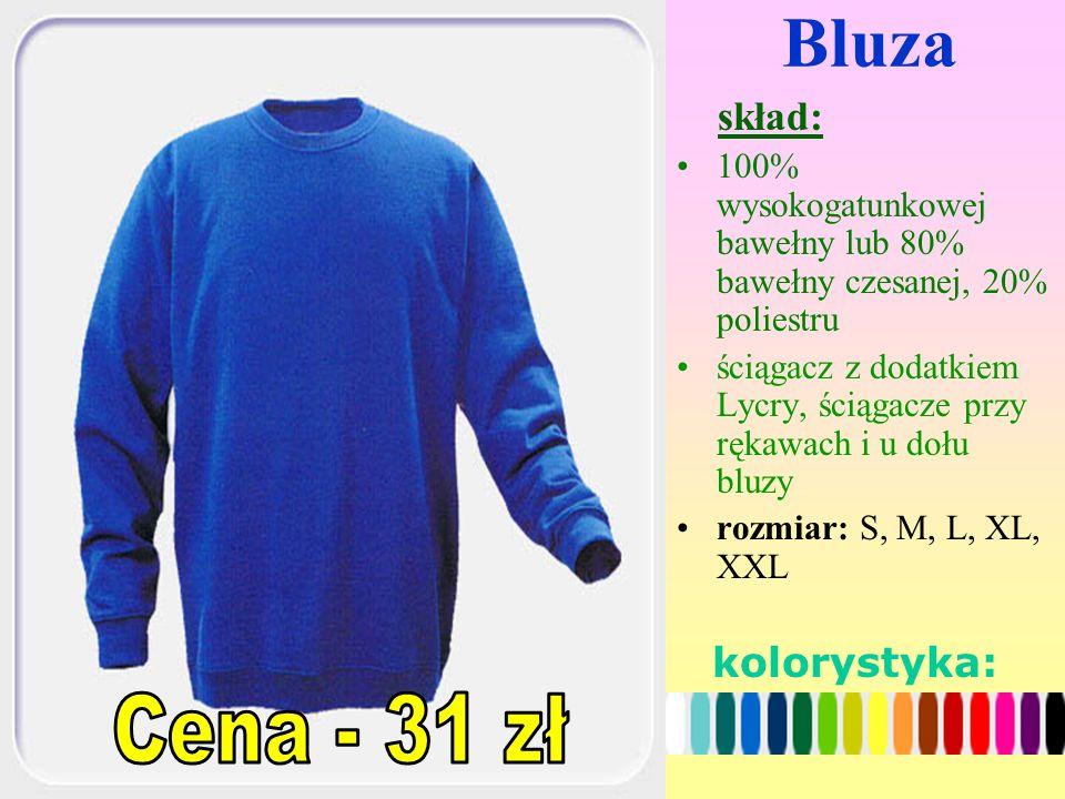Bluza skład: 100% wysokogatunkowej bawełny lub 80% bawełny czesanej, 20% poliestru ściągacz z dodatkiem Lycry, ściągacze przy rękawach i u dołu bluzy rozmiar: S, M, L, XL, XXL kolorystyka: