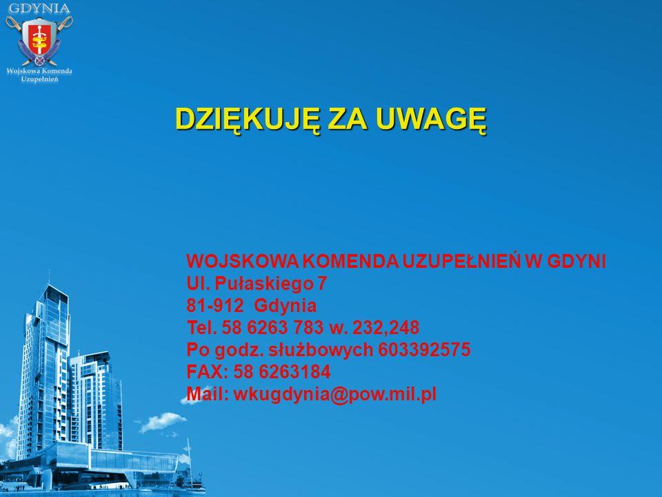 DZIĘKUJĘ ZA UWAGĘ WOJSKOWA KOMENDA UZUPEŁNIEŃ W GDYNI Ul. Pułaskiego 7 81-912 Gdynia Tel. 58 6263 783 w. 232,248 Po godz. służbowych 603392575 FAX: 58