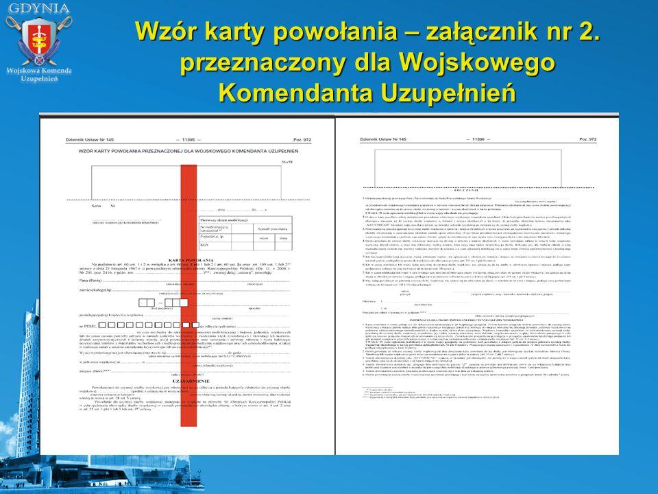Wzór karty powołania – załącznik nr 2. przeznaczony dla Wojskowego Komendanta Uzupełnień