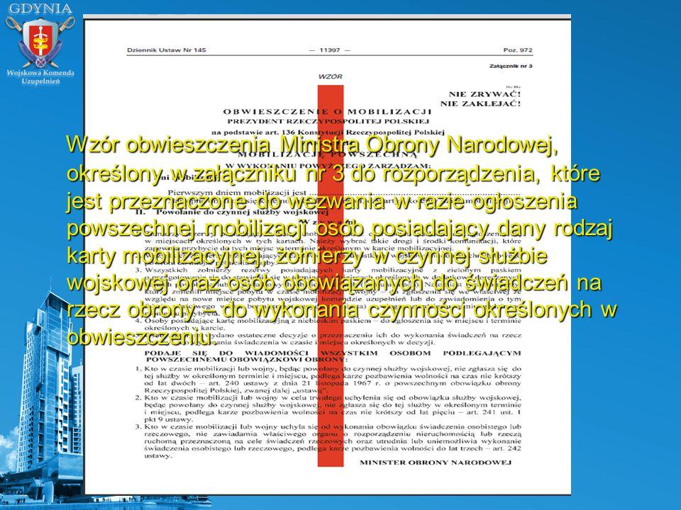 Wzór obwieszczenia Ministra Obrony Narodowej, określony w załączniku nr 3 do rozporządzenia, które jest przeznaczone do wezwania w razie ogłoszenia po