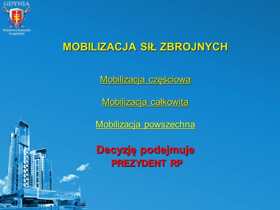 MOBILIZACJA SIŁ ZBROJNYCH Mobilizacja częściowa Mobilizacja całkowita Mobilizacja powszechna Decyzję podejmuje PREZYDENT RP