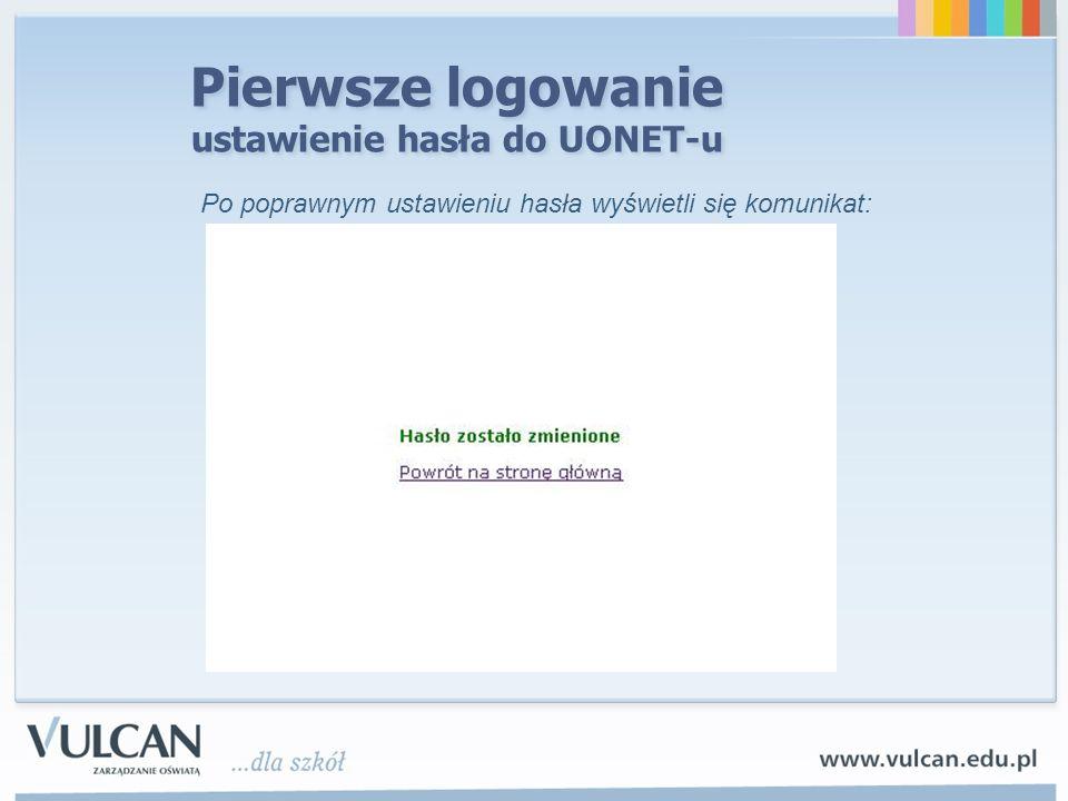 Pierwsze logowanie ustawienie hasła do UONET-u Po poprawnym ustawieniu hasła wyświetli się komunikat: