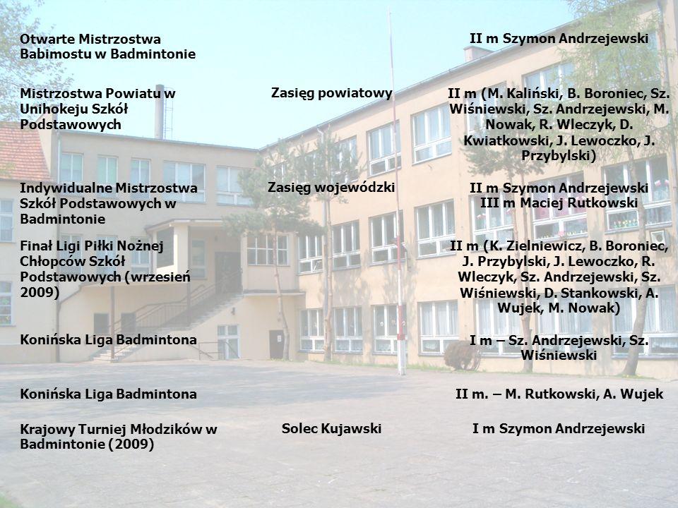 Otwarte Mistrzostwa Babimostu w Badmintonie II m Szymon Andrzejewski Mistrzostwa Powiatu w Unihokeju Szkół Podstawowych Zasięg powiatowyII m (M. Kaliń