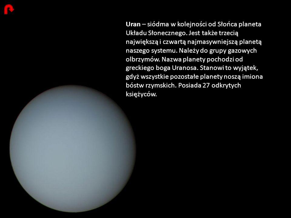 Uran – siódma w kolejności od Słońca planeta Układu Słonecznego. Jest także trzecią największą i czwartą najmasywniejszą planetą naszego systemu. Nale