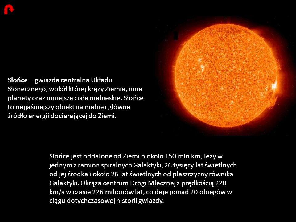Słońce – gwiazda centralna Układu Słonecznego, wokół której krąży Ziemia, inne planety oraz mniejsze ciała niebieskie. Słońce to najjaśniejszy obiekt