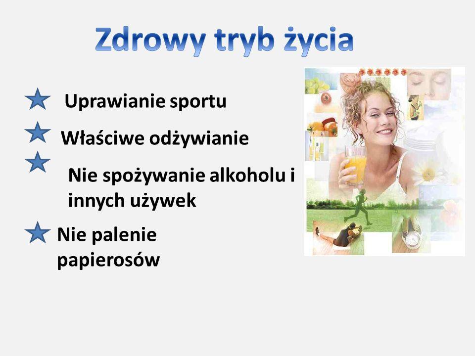 Uprawianie sportu Właściwe odżywianie Nie spożywanie alkoholu i innych używek Nie palenie papierosów