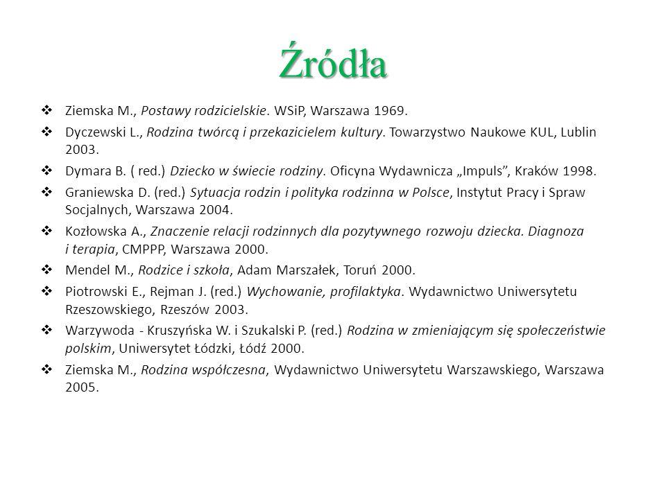 Źródła Ziemska M., Postawy rodzicielskie. WSiP, Warszawa 1969. Dyczewski L., Rodzina twórcą i przekazicielem kultury. Towarzystwo Naukowe KUL, Lublin