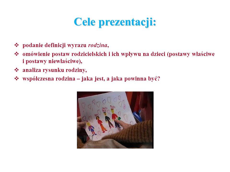 Cele prezentacji: podanie definicji wyrazu rodzina, omówienie postaw rodzicielskich i ich wpływu na dzieci (postawy właściwe i postawy niewłaściwe), a
