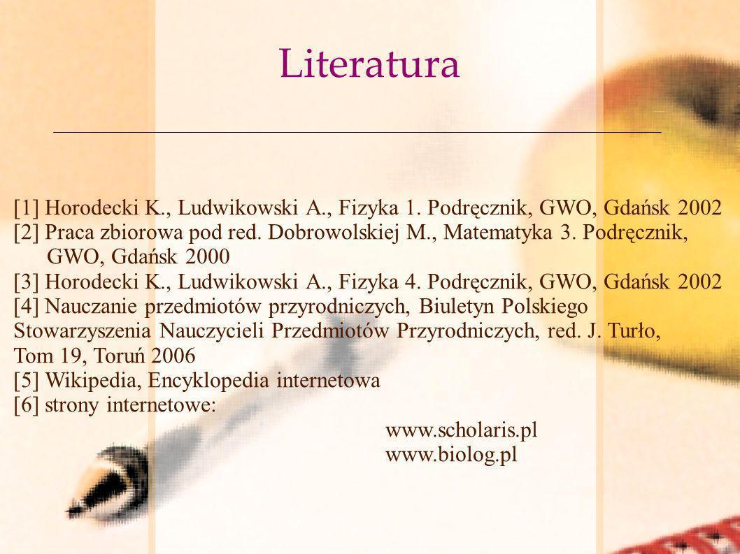 Literatura [1] Horodecki K., Ludwikowski A., Fizyka 1. Podręcznik, GWO, Gdańsk 2002 [2] Praca zbiorowa pod red. Dobrowolskiej M., Matematyka 3. Podręc
