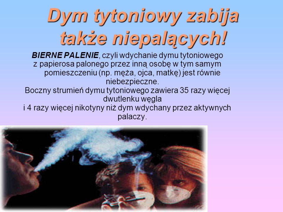 Dym tytoniowy zabija także niepalących! BIERNE PALENIE, czyli wdychanie dymu tytoniowego z papierosa palonego przez inną osobę w tym samym pomieszczen