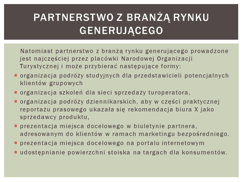 Natomiast partnerstwo z branżą rynku generującego prowadzone jest najczęściej przez placówki Narodowej Organizacji Turystycznej i może przybierać nast