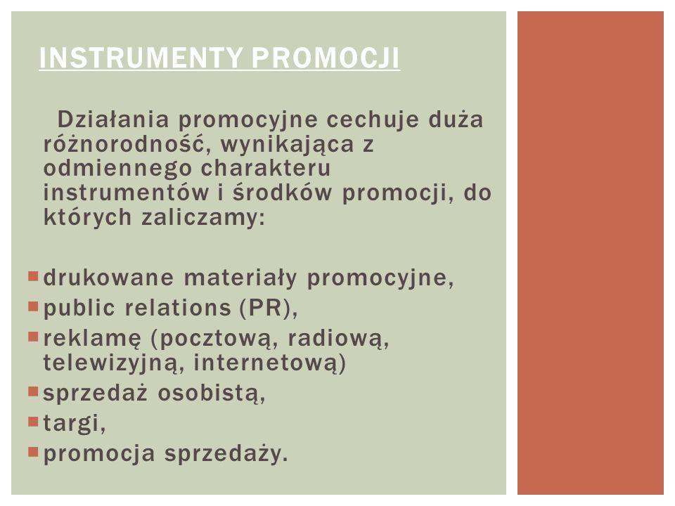 Działania promocyjne cechuje duża różnorodność, wynikająca z odmiennego charakteru instrumentów i środków promocji, do których zaliczamy: drukowane ma