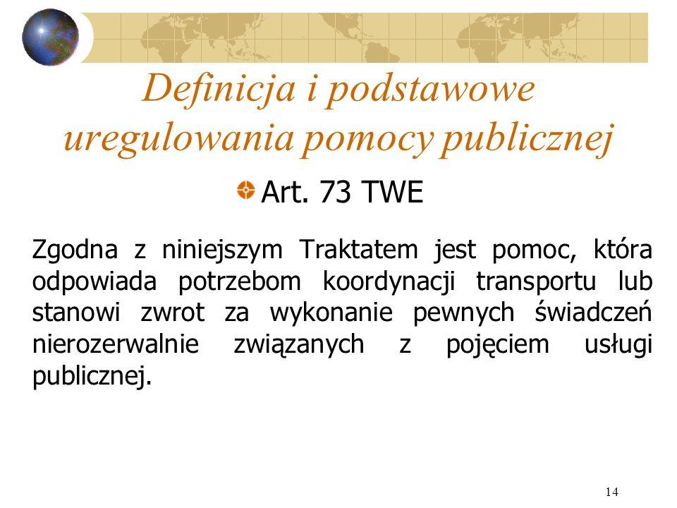 14 Definicja i podstawowe uregulowania pomocy publicznej Art.
