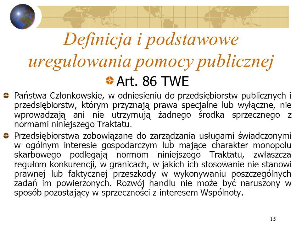 15 Definicja i podstawowe uregulowania pomocy publicznej Art.