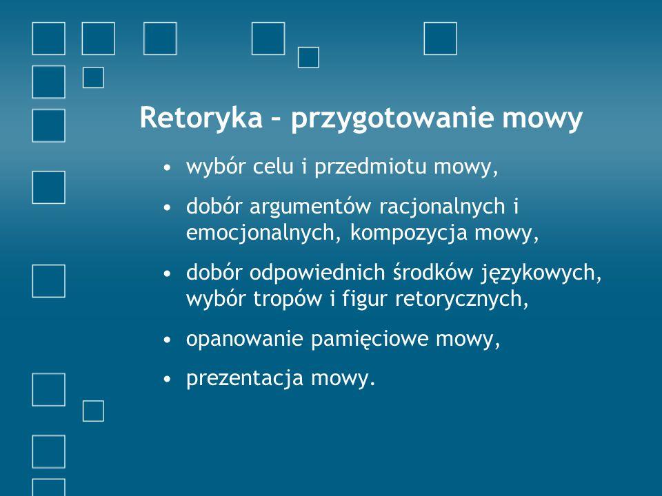 Retoryka – przygotowanie mowy wybór celu i przedmiotu mowy, dobór argumentów racjonalnych i emocjonalnych, kompozycja mowy, dobór odpowiednich środków