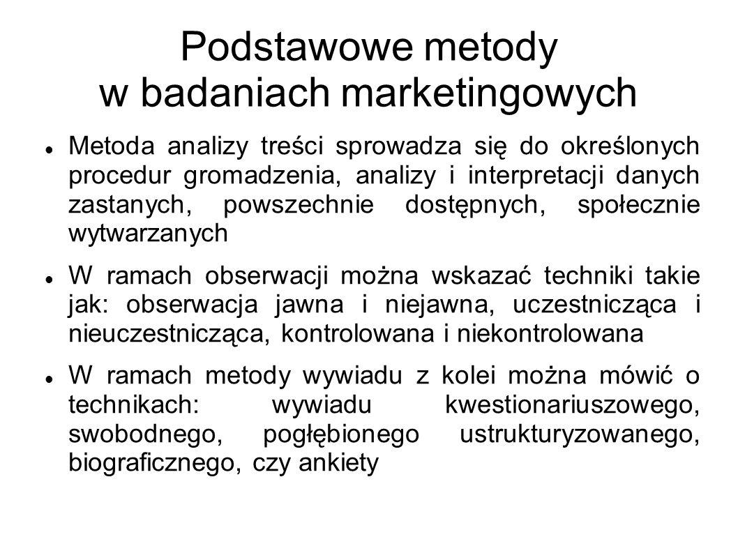 Podstawowe metody w badaniach marketingowych Metoda analizy treści sprowadza się do określonych procedur gromadzenia, analizy i interpretacji danych z