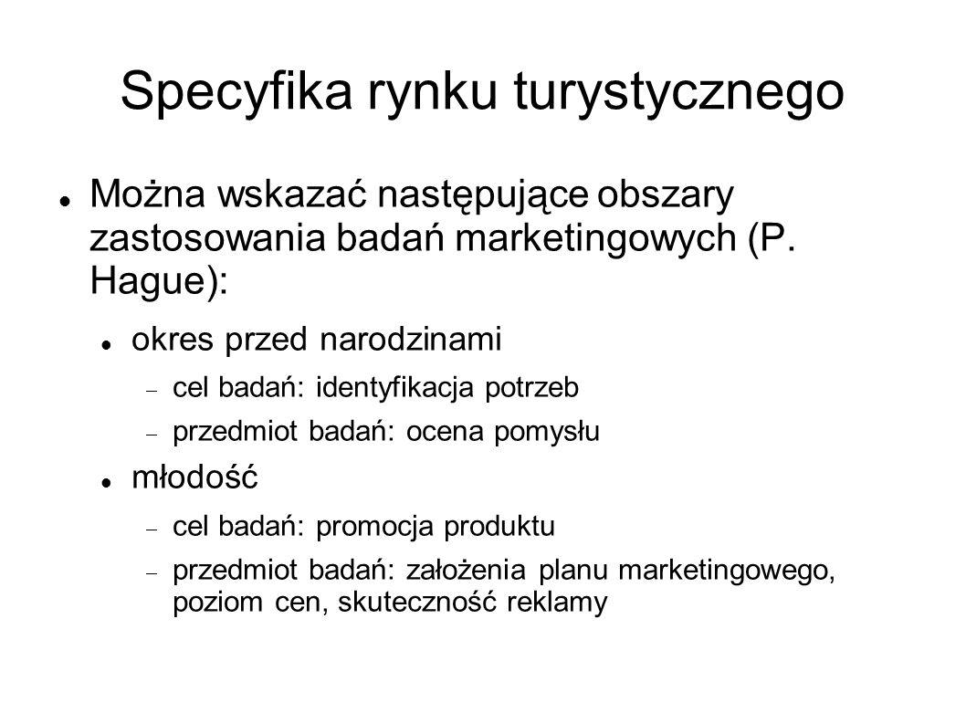 Specyfika rynku turystycznego Można wskazać następujące obszary zastosowania badań marketingowych (P. Hague): okres przed narodzinami cel badań: ident