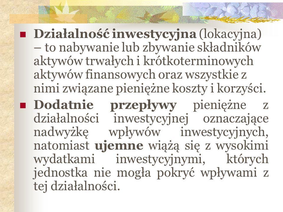 Działalność inwestycyjna (lokacyjna) – to nabywanie lub zbywanie składników aktywów trwałych i krótkoterminowych aktywów finansowych oraz wszystkie z