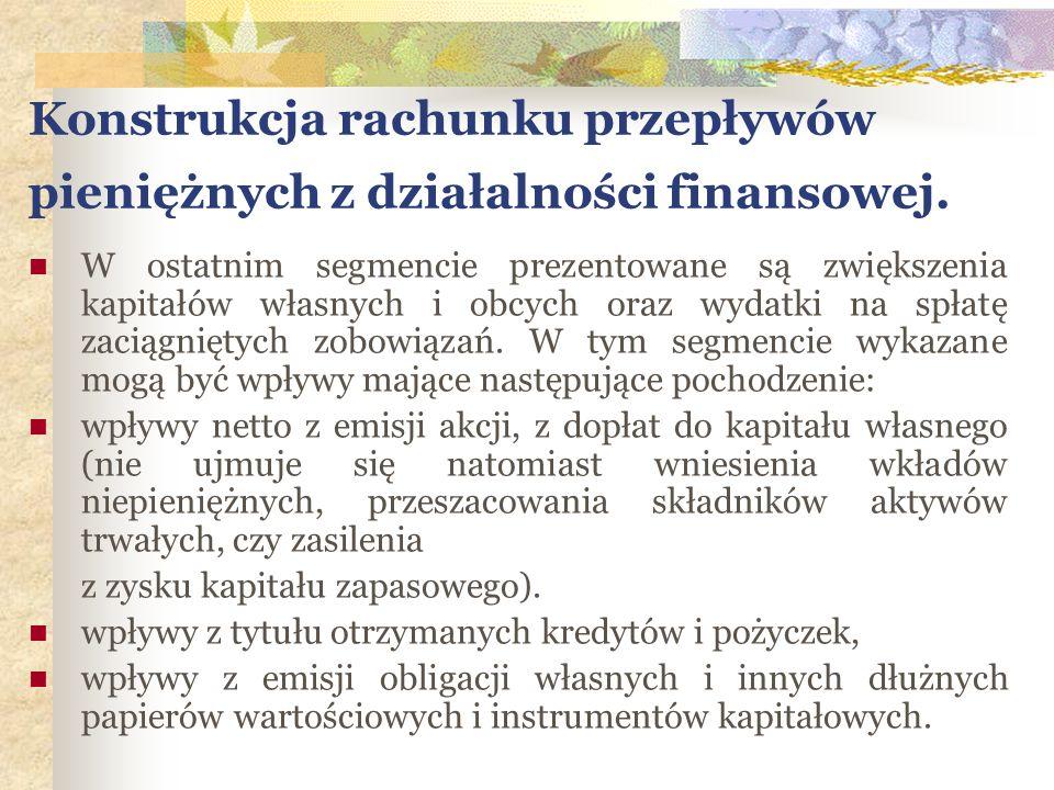 Konstrukcja rachunku przepływów pieniężnych z działalności finansowej. W ostatnim segmencie prezentowane są zwiększenia kapitałów własnych i obcych or