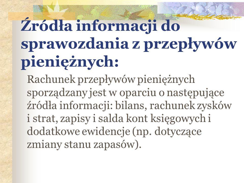 Źródła informacji do sprawozdania z przepływów pieniężnych: Rachunek przepływów pieniężnych sporządzany jest w oparciu o następujące źródła informacji