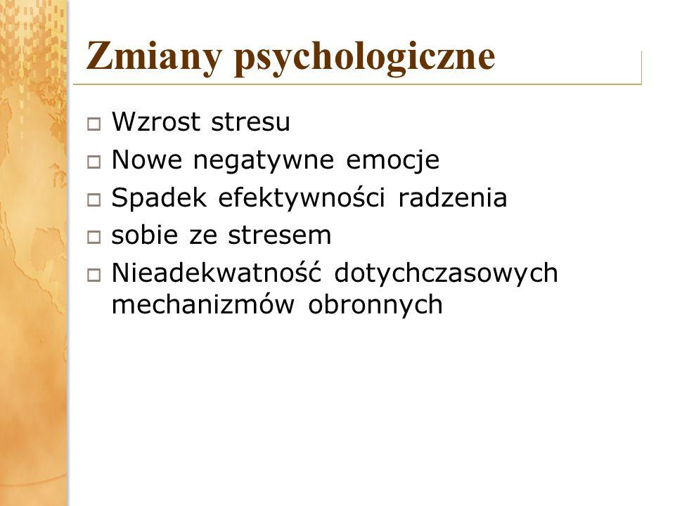 Zmiany psychologiczne Wzrost stresu Nowe negatywne emocje Spadek efektywności radzenia sobie ze stresem Nieadekwatność dotychczasowych mechanizmów obr