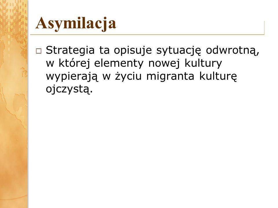 Asymilacja Strategia ta opisuje sytuację odwrotną, w której elementy nowej kultury wypierają w życiu migranta kulturę ojczystą.
