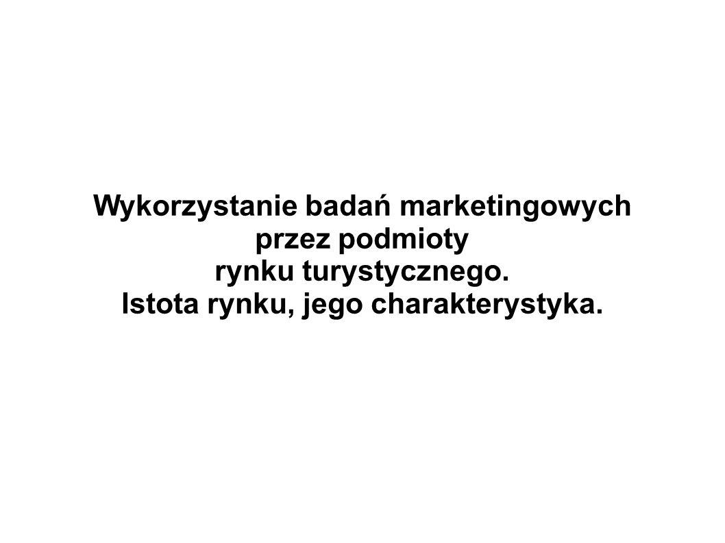 Wykorzystanie badań marketingowych przez podmioty rynku turystycznego. Istota rynku, jego charakterystyka.