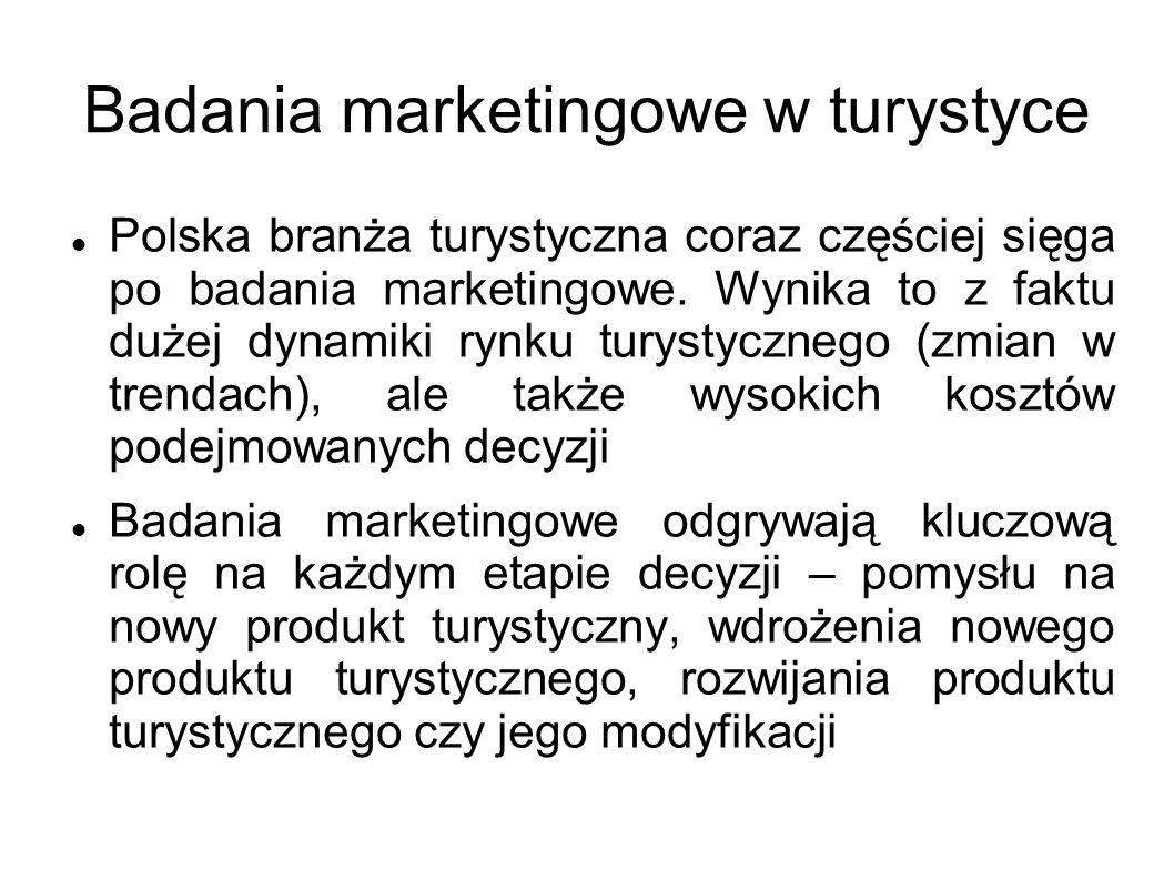 Badania marketingowe w turystyce Polska branża turystyczna coraz częściej sięga po badania marketingowe. Wynika to z faktu dużej dynamiki rynku turyst