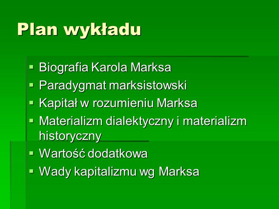 Plan wykładu Biografia Karola Marksa Biografia Karola Marksa Paradygmat marksistowski Paradygmat marksistowski Kapitał w rozumieniu Marksa Kapitał w r