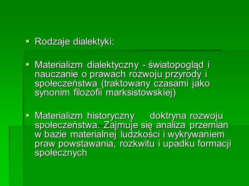 Rodzaje dialektyki: Rodzaje dialektyki: Materializm dialektyczny - światopogląd i nauczanie o prawach rozwoju przyrody i społeczeństwa (traktowany cza